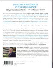 Dictionnaire complet des hydrolats et eaux florales - 4ème de couverture - Format classique