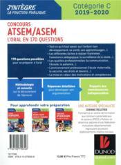 Concours ATSEM/ASEM ; l'oral en 160 questions (édition 2019/2020) - 4ème de couverture - Format classique