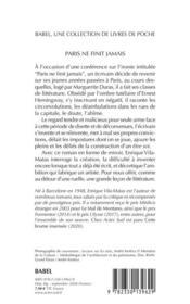 Paris ne finit jamais - 4ème de couverture - Format classique