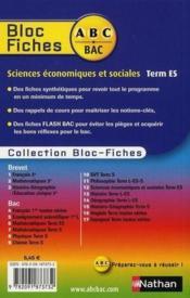 ABC DU BAC ; sciences économiques et sociales ; terminale ES ; bloc fiches - Couverture - Format classique