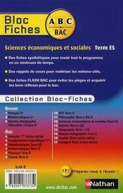 ABC DU BAC ; sciences économiques et sociales ; terminale ES ; bloc fiches - 4ème de couverture - Format classique