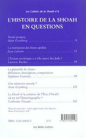 L'histoire de la Shoah en questions - 4ème de couverture - Format classique