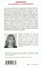 Afghanistan Du Communisme Au Fondamentalisme - 4ème de couverture - Format classique