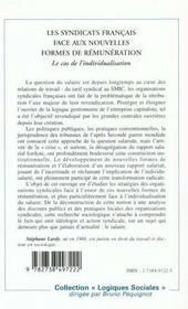 Les Syndicats Francais Face Aux Nouvelles Formes De Remuneration ; Le Cas De L'Individualisation - 4ème de couverture - Format classique