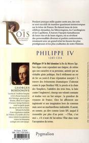 Philippe IV 1285-1314 ; petit-fils de Saint Louis - 4ème de couverture - Format classique