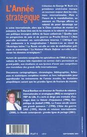 L'Annee Strategique ; Edition 2002 - 4ème de couverture - Format classique