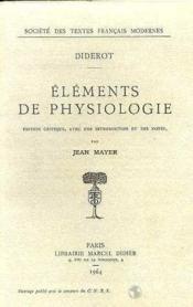 Éléments de physiologie - Couverture - Format classique