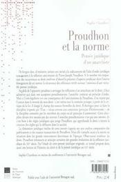 Proudhon et la norme pensee juridique d'un anarchiste - 4ème de couverture - Format classique