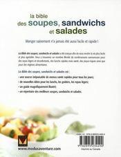 La bible des soupes, sandwichs et salades - 4ème de couverture - Format classique