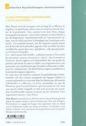 Psychotherapie institutionnelle c est la psychiatrie - 4ème de couverture - Format classique