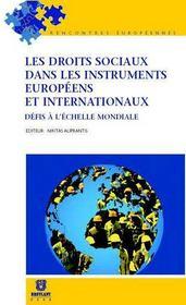 Les droits sociaux dans les instruments européens et internationaux ; défis à l'échelle mondiale - Couverture - Format classique