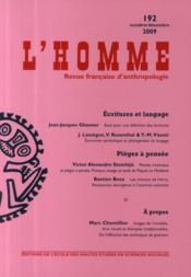 REVUE L'HOMME N.192 ; écritures et langage ; pièges à pensée - Couverture - Format classique