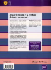 Réussir le résumé et la synthèse de textes aux concours (4e édition) - 4ème de couverture - Format classique
