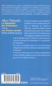 La république des professeurs ; les princes lorrains - 4ème de couverture - Format classique