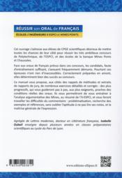 Réussir son oral de français ; écoles d'ingénieurs - 4ème de couverture - Format classique