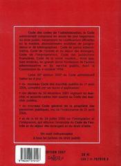 Code administratif (édition 2007) - 4ème de couverture - Format classique