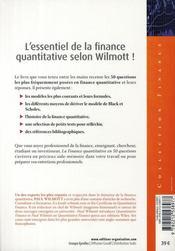 La finance quantitative ; en 50 questions - 4ème de couverture - Format classique