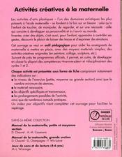 Activites Creatives A La Maternelle - 4ème de couverture - Format classique