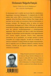 Dictionnaire malgache-français - 4ème de couverture - Format classique