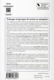 Échanges réciproques de savoirs en entreprise - 4ème de couverture - Format classique