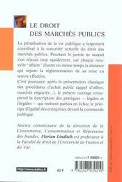 Le Droit Des Marchés Publics - 4ème de couverture - Format classique