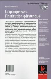 Le groupe dans l'institution gériatrique - 4ème de couverture - Format classique