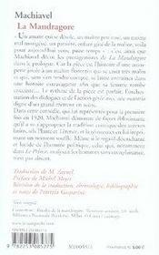 La mandragore - 4ème de couverture - Format classique