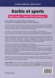 Rachis et sport ; quels risques ? quels effets bénéfiques ? - 4ème de couverture - Format classique