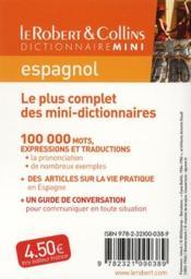 Dictionnaire mini ; le Robert & Collins espagnol - 4ème de couverture - Format classique