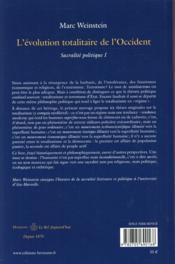 Sacralité politique t.1 ; l'évolution totalitaire de l'Occident - 4ème de couverture - Format classique