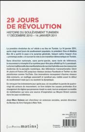 29 jours de révolution ; histoire du soulèvement tunisien : 17 décembre 2010-14 janvier 2011 - 4ème de couverture - Format classique