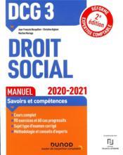 DCG 3 ; droit social ; manuel (édition 2020/2021) - Couverture - Format classique
