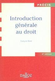 Introduction Generale Au Droit - Intérieur - Format classique