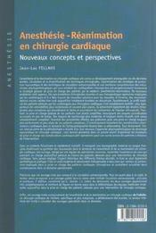 Anesthesie, reanimation en chirurgie cardiaque nouveaux concepts et perspectives - 4ème de couverture - Format classique