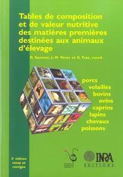Tables De Composition Et De Valeur Nutritive Des Matieres Premieres Destinees Au - Intérieur - Format classique
