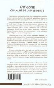 Antigone Ou L'Aube De La Dissidence - 4ème de couverture - Format classique