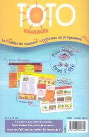 Toto Vacances - L 'Anti-Cahier De Vacances - 4ème de couverture - Format classique