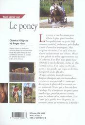 Tout Savoir Sur Le Poney - 4ème de couverture - Format classique