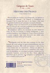Histoire des francs t2 - 4ème de couverture - Format classique