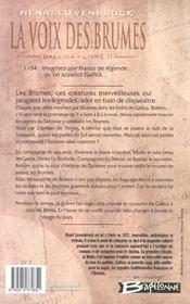 Gallica t.2 ; la voix des brumes - 4ème de couverture - Format classique