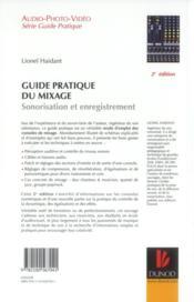 Guide pratique du mixage ; sonorisation et enregistrement (2e édition) - 4ème de couverture - Format classique