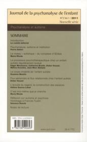 Journal De La Psychanalyse De L'Enfant N.2/1 ; Psychanalyse Et Autisme (édition 2011) - 4ème de couverture - Format classique