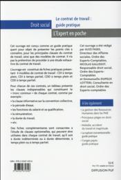Le contrat de travail : guide pratique - 4ème de couverture - Format classique
