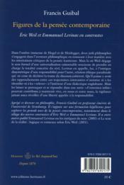 Figures de la pensee contemporaine - eric weil et emmanuel levinas en contrastes - 4ème de couverture - Format classique