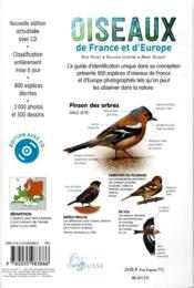Oiseaux de France et d'Europe ; 800 espèces, 100 chants d'oiseaux - 4ème de couverture - Format classique
