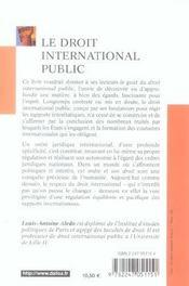 Le Droit International Public - 4ème de couverture - Format classique