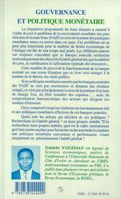 Gouvernance Et Politique Monetaire ; A Qui Profitent Les Banques Centrales De La Zone-Franc ? - 4ème de couverture - Format classique