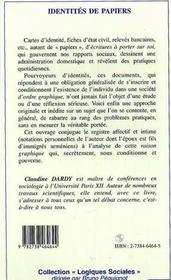 Identites De Papiers - 4ème de couverture - Format classique