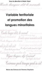 Variable territoriale et promotion des langues minoritaires - Couverture - Format classique