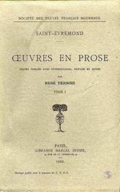 Oeuvres en prose - tome i - Couverture - Format classique